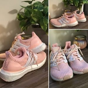 Adidas Boost girls pink and white sneakers